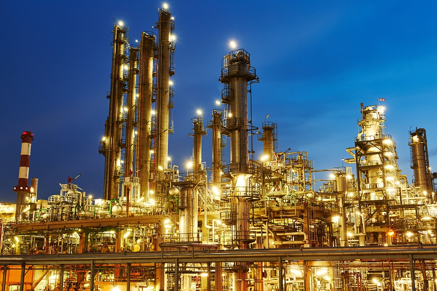 Oil refinery plant of petroleum or petrochemical industry produc